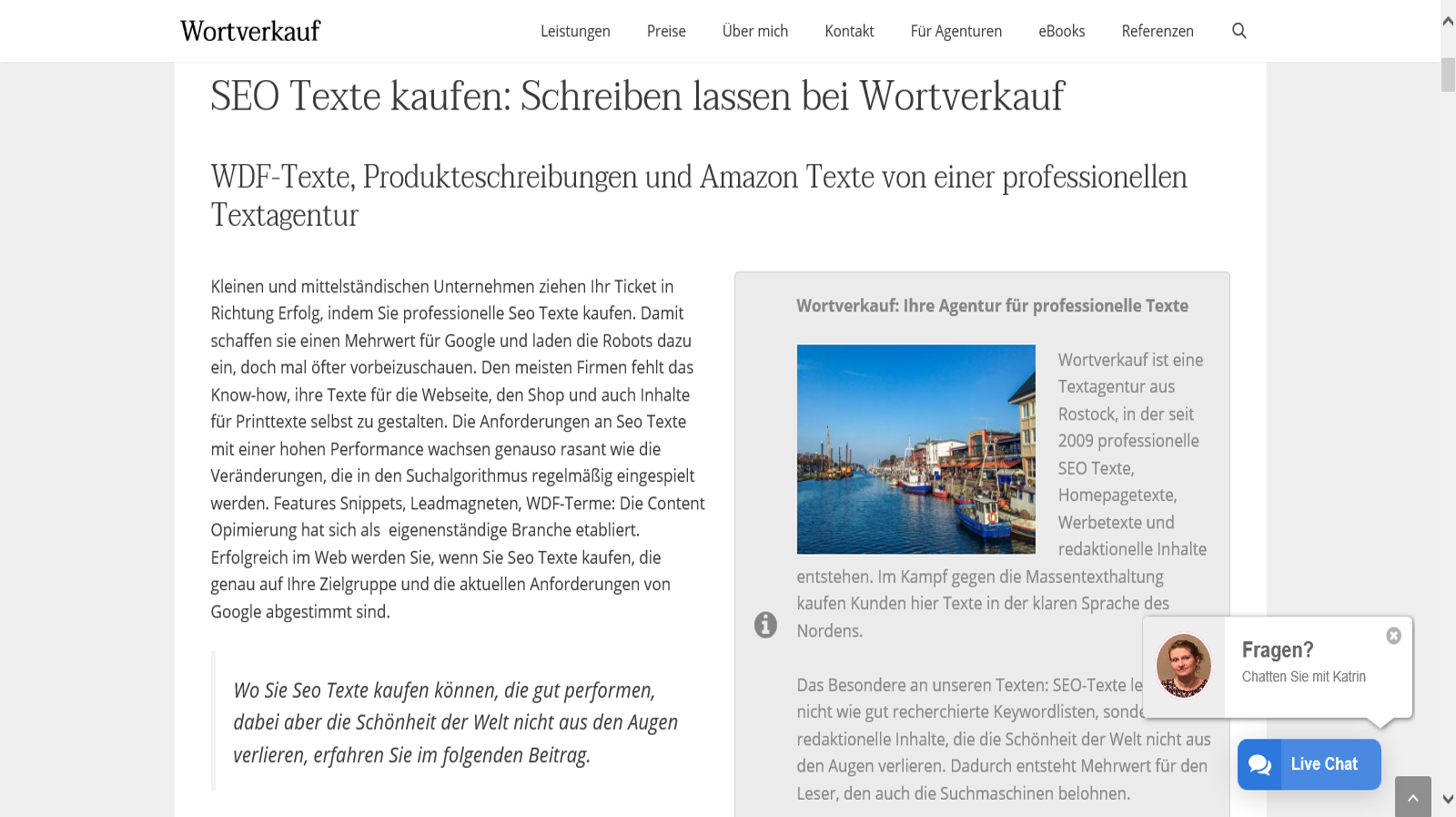 Landingpage Texte Beispiel